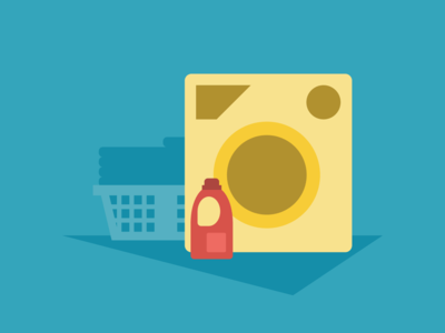 Laundry Day clothes soap washing machine basket detergent today calendar vector app material design illustration
