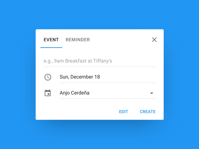 Add an Event Dialog ui desktop card create edit clock calendar tiffanys breakfast vanilla paper material design