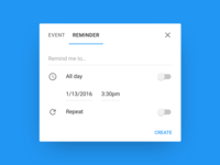 Add a Reminder Dialog ui desktop card material design paper vanilla calendar repeat clock create