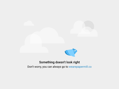 Wary Bird 404 illustration ux anxious nervous cold sweat flap material design sky sun clouds worry error