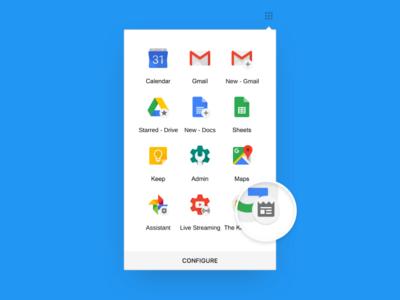 Shortcut Badges For G App Launcher interface iconography chrome desktop ui badge paper material design google
