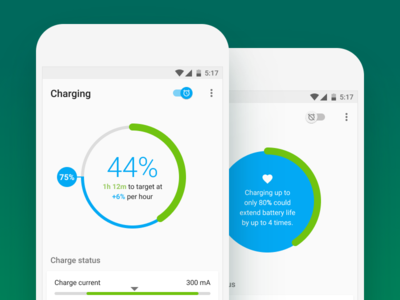 AccuBattery Charging Status + Alarm accubattery ui material design graph battery alarm switch cards data pixel papermill collective android