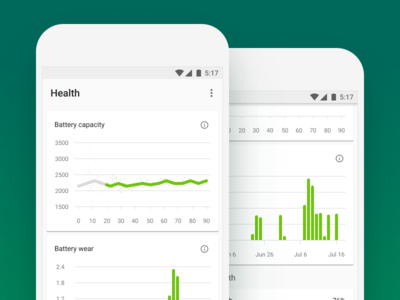 AccuBattery Health Graphs accubattery ui material design graph battery alarm switch cards data pixel papermill collective android