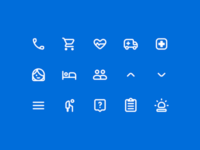 WIP: Icons for Maria Health material design elderly call emergency nurse girl pulse heart ambulance hospital iconography healthcare