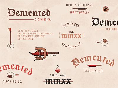 Demented Clothing Branding icons true crime logo apparel idenity