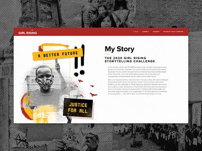 My Story Website protestart mystory girlrising collageart collage graphicdesign webdesign website
