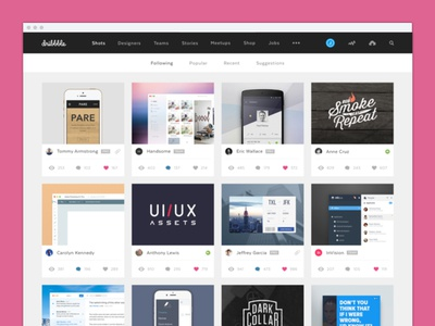 Dribbble Redesign shots projects design experience interface user ui website web concept redesign dribbble