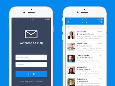 Mobile Mail App experience interface user simple phone ios mobile email mail concept app