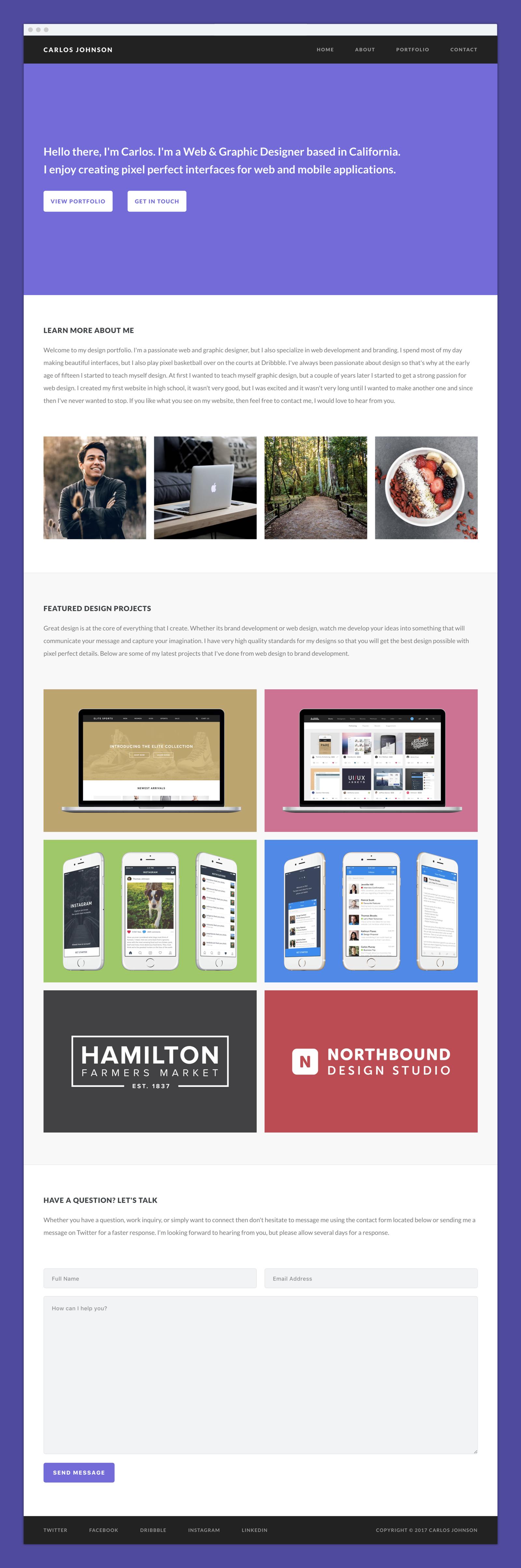 One page portfolio template 2x