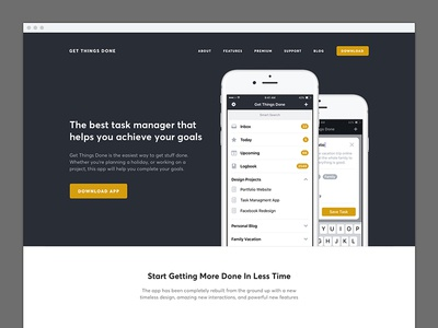 Get Things Done Website page landing design web concept app mobile reminders tasks iphone ios productivity