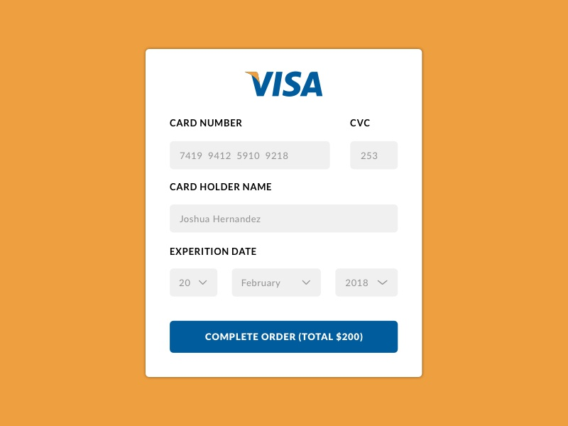 credit card payment daily ui challenge 002 by johnny jakubowicz