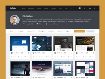 User Profile - Daily UI Challenge #006 dribbble user profile redesign challenge app mobile web design ux ui daily