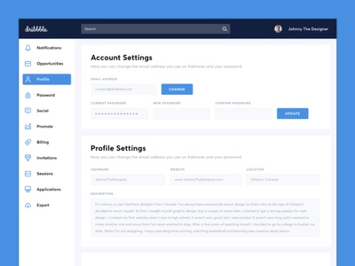 Settings Dashboard - Daily UI Challenge #007 challenge profile account settings dashboard app mobile web design ux ui daily