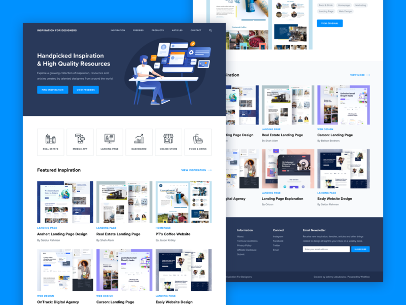 Inspiration For Designers illustration interface web app ui ux concept user mobile design inspiration resources articles icons landing page marketing newsletter interaction webflow instagram