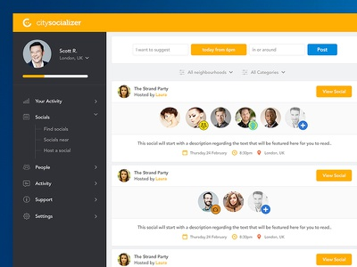 Citysocializer Social Dashboard orange yellow dash social network people socials social dashboard citysocializer