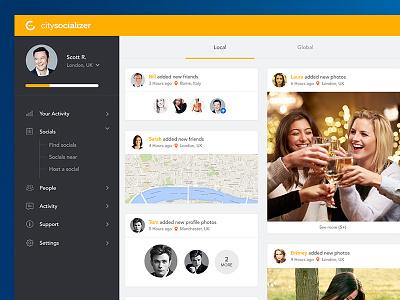 Citysocializer Dashboard UI orange yellow dash social network people socials social dashboard citysocializer