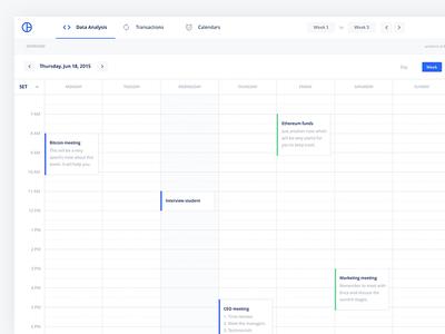 Crypto Calendar UI for Sketch App And Adobe XD