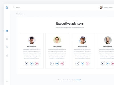 Executive Players UI Kit For Sketch And XD web ux ui mobile flat dashboard design clean branding app material 2d