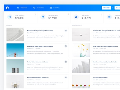 Item Lists - Saas Admin UI Kit material white minimal clean graphs data business finance product saas website web design