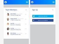 Login + Team screens from the Mobile Saas Admin Ui Kit