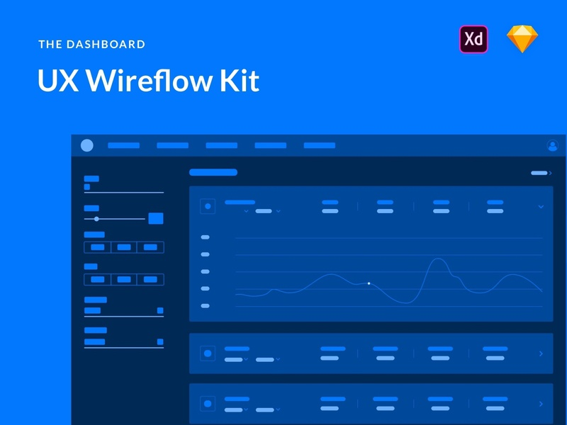 Dashboards UX Wireflows Kit blue vector website web app wire-frame free ui kits ui kit ux ui design ux process web app dasboard wire frame uxd wireframe wireflow clean