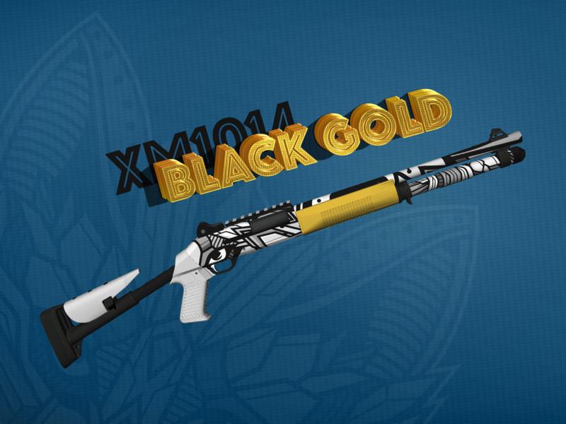 CS:GO Skin   XM1014   Black Gold 3d modelling skin