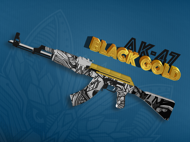 CS:GO Skin | AK-47 | Black Gold modeling skin 3d