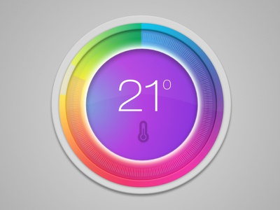 Thermo gauge cold hot temperature colors design interface user ui thermometer