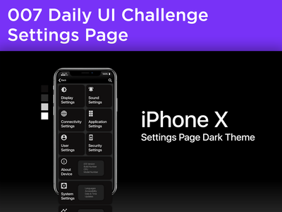 #007 #SettingsPage - Dark Theme for iPhone settings page.