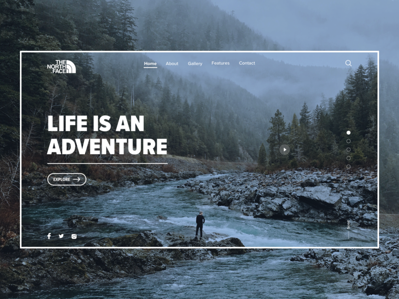 Daily UI #003 • Landing Page the north face uxui ux ui landing pages landing page travel daily ui dailyui