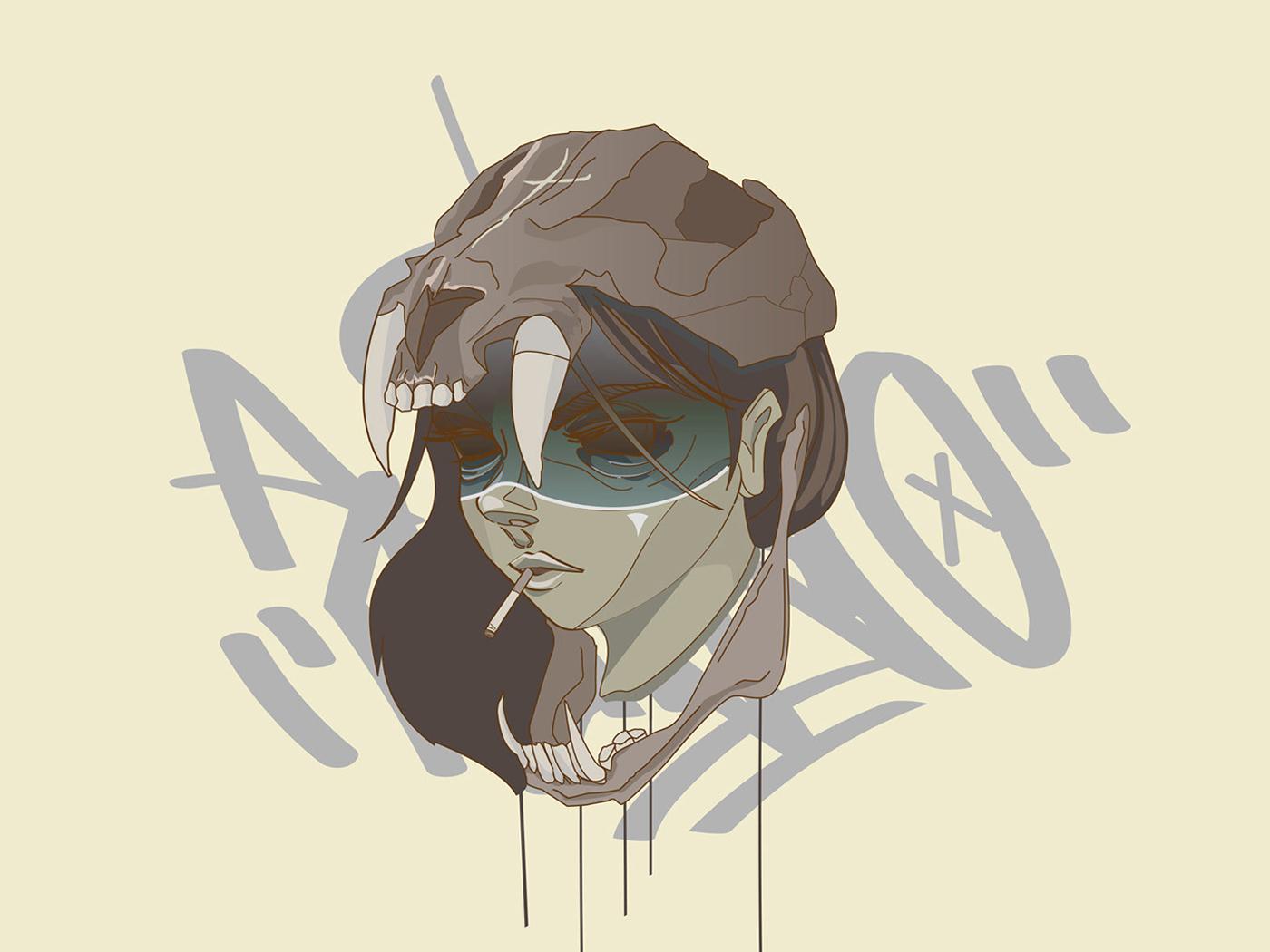 A Fuego D female skull urban tribal print vector illustration graffiti