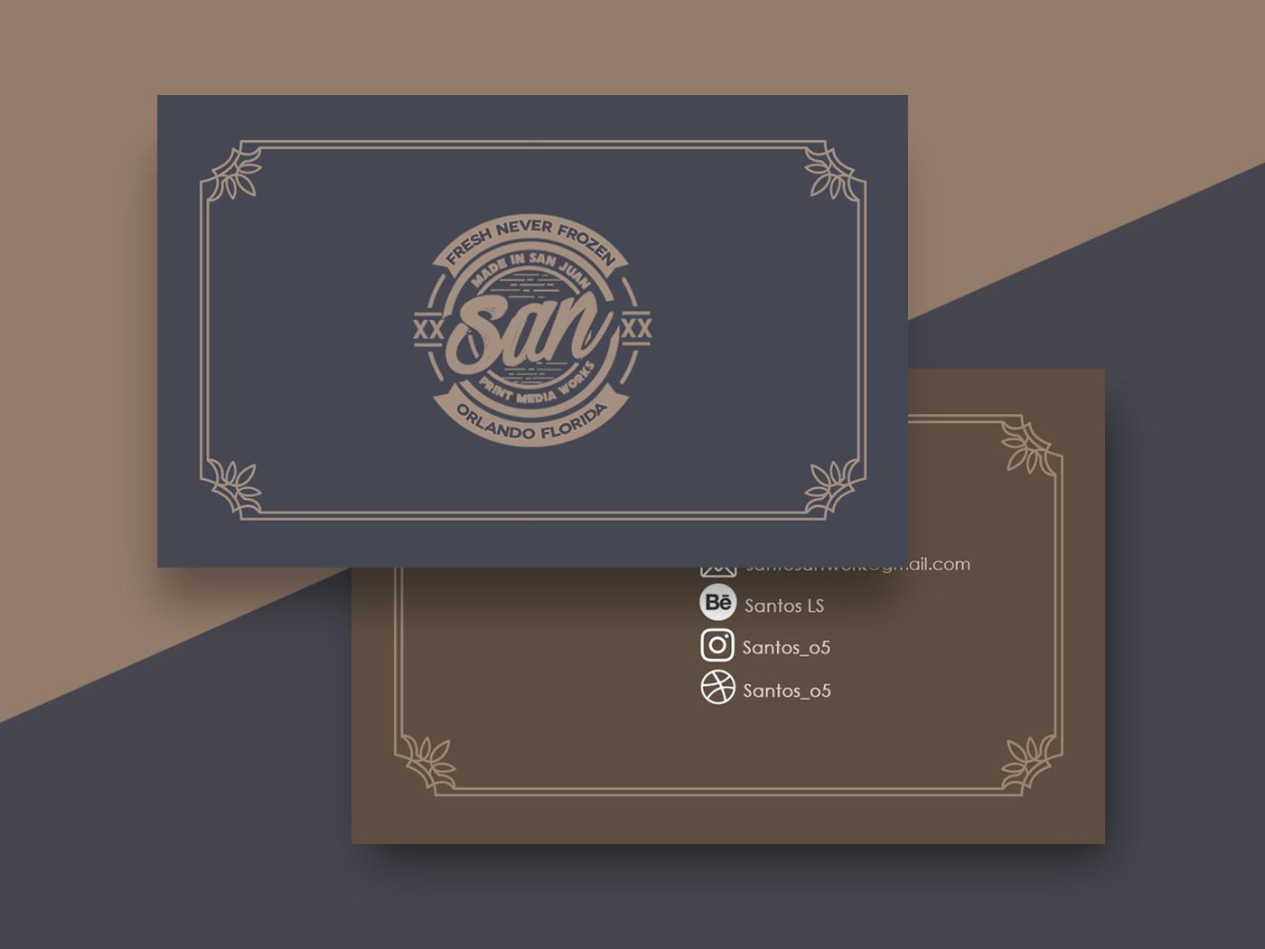 Santos Cards branding typography print design badge logo badge business card