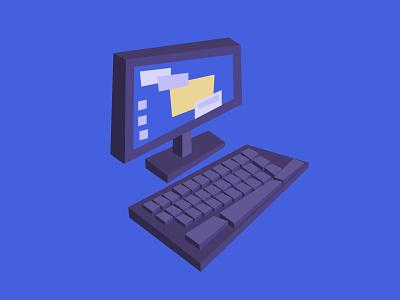 One Desktop Computer animation adobe illustrator illustration prop computer