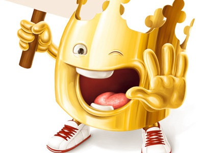BURGER KING character creeze burger king crown gold