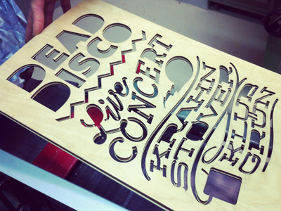 DEAD DISCO Flyer Preparation creeze dead disco flyer typography wood laser