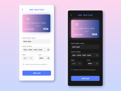 Daily UI #002 - Credit Card Checkout checkout dailyui 002 app design dark theme dark light ui dark ui dailyuichallenge ui dailyui add card payment credit card payment credit card form credit card checkout credit card dark mode light mode daily ui 002 daily ui
