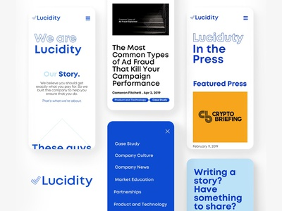 Lucidity - Mobile Layouts blockchain kluge mobile design mobile ui webdesign website design web