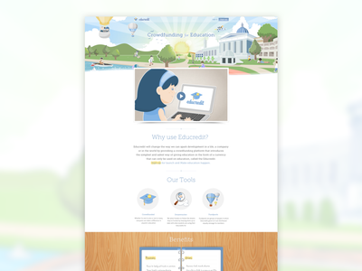 Educredit - Homepage university education illustration uidesign crowdfunding los angeles kluge webdesign
