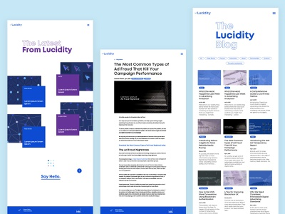 Lucidity - Website Layouts web website blockchain design ui webdesign kluge