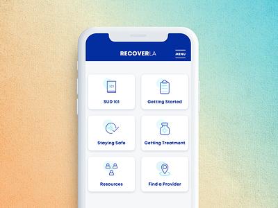 Recover LA - App graphic design branding appdesign kluge