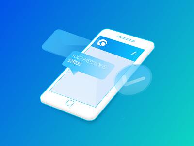 TeleSign - key Visual vector icon branding illustration ui mobile security kluge