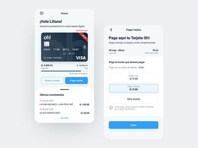 Financiera Oh! Bank App credit card bank banking app ui design ux  ui ui