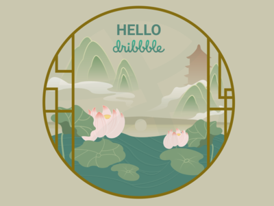 Hello Dribbble thank invite illustration hellodribbble hangzhou debute