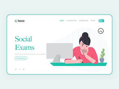 Social exams banner exam website ui web design web figma webdesign illustraion