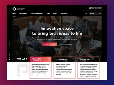 Web design for tech accelerator singapore government innovation co-working office gradient modern it design website high-tech