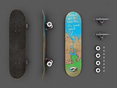 Skateboard Disassembled in 3D 3d skateboard disassembled trucks wheels bearings