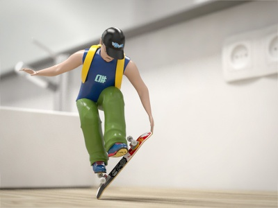 3D Toy Skateboarder (Rondey Mullen Tricks) skateboard skateboarding 3d cgi rodney mullen oldschool toy story toy