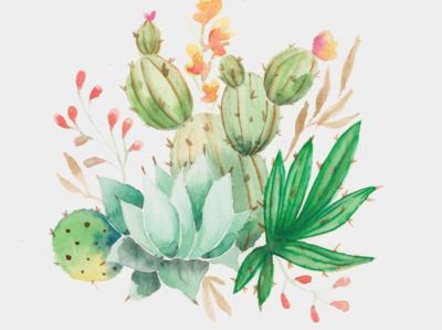 Let's Stick Together Cactus Illustration