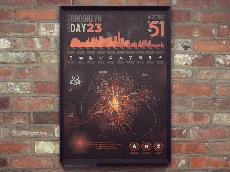 E3 Poster for The Division e3 poster map virus infection infographic