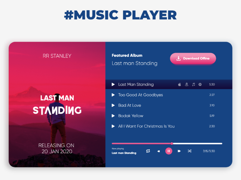 Music player ui ux color